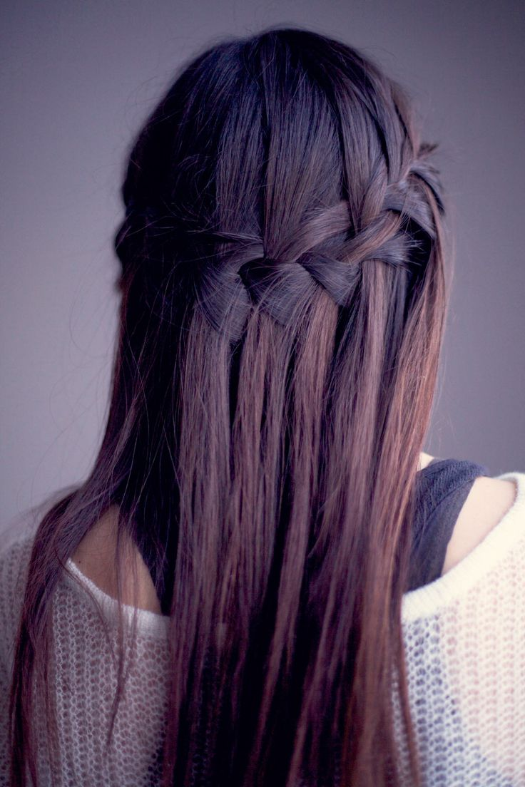 Beautiful waterfall braid for straight, straight hair