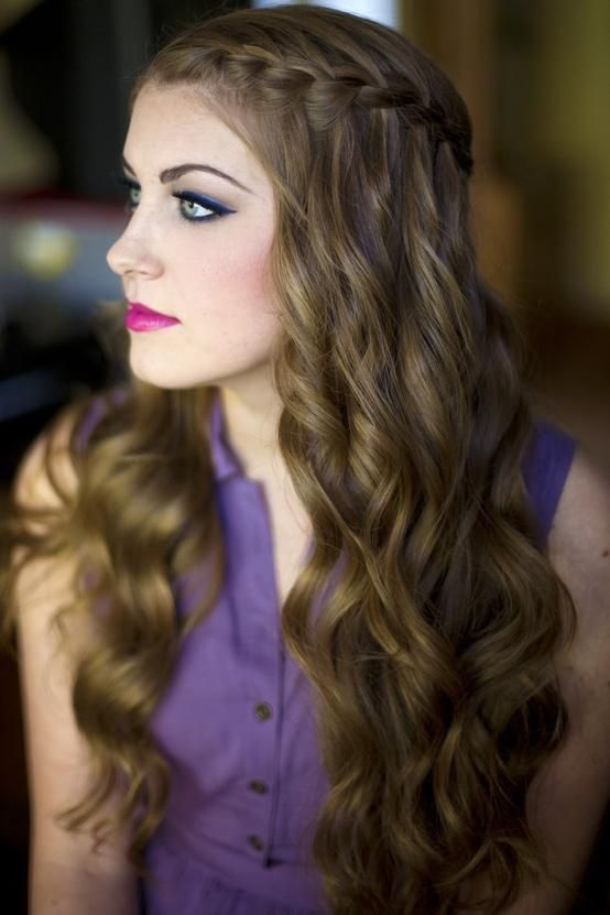 Breathtaking waterfall braid for brown hair