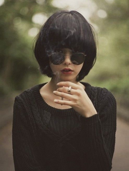 Cool short black bob hairstyle with bangs