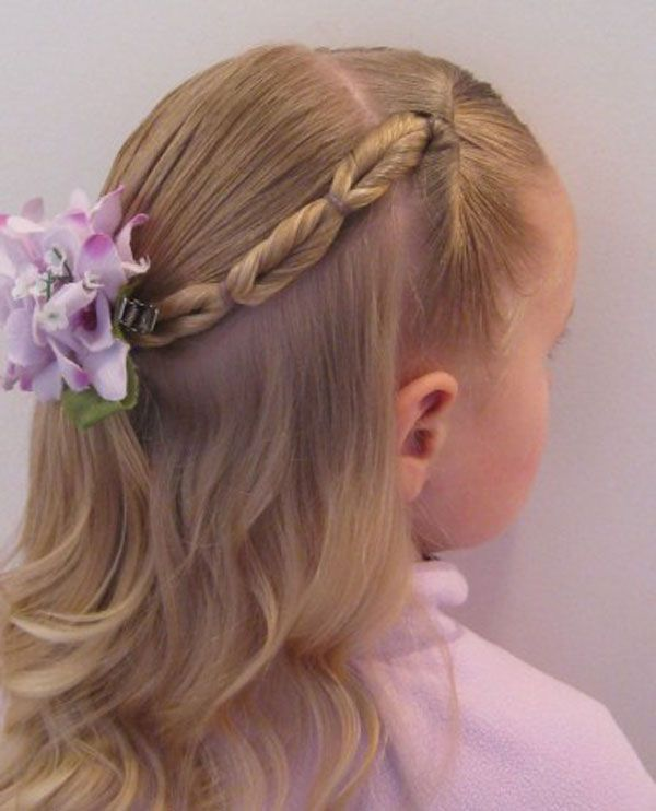 Braided hairstyle with flower for children