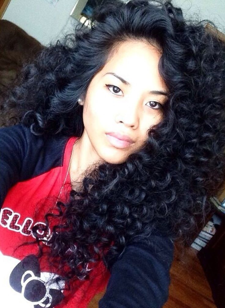 Voluminous long curly hair for Asian hairstyles