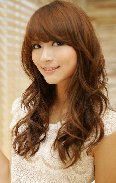 Pretty long wavy hair for Asian hairstyles