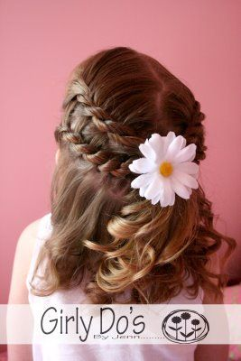 Pretty hairstyle with flower for little girls