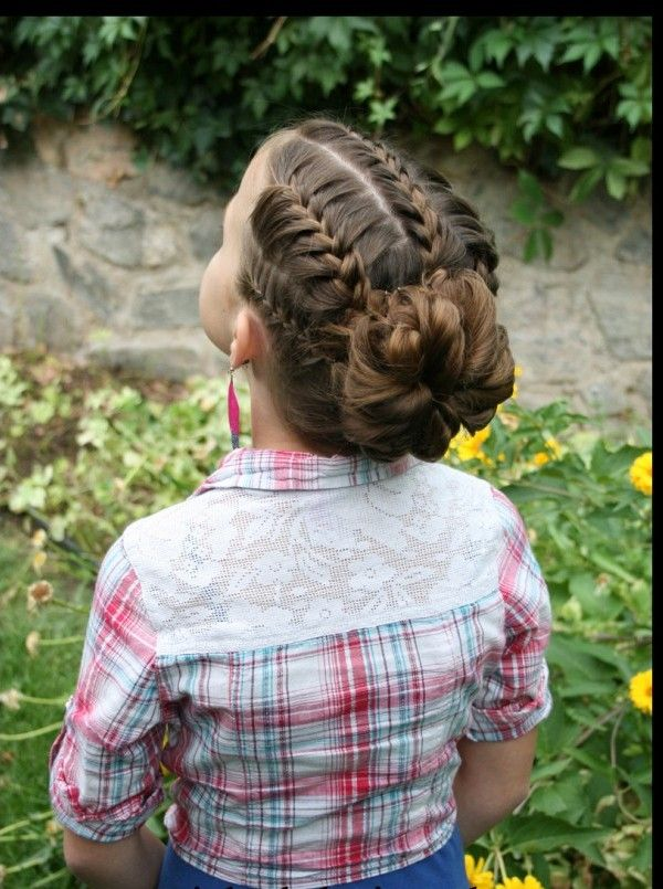 Braided bun hairstyle for little girls