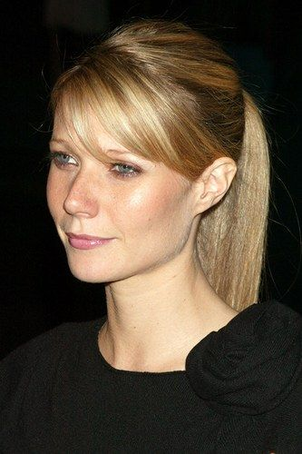 Simple ponytail with bangs - Gwyneth Paltrow hairstyles