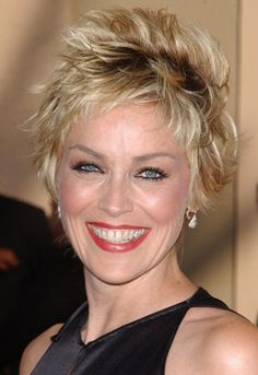 Sharon Stone Short Edgy Hairstyle