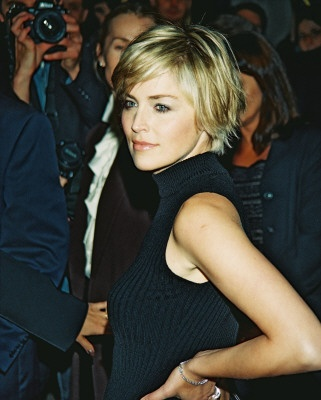 Sharon Stone Side Parted Short Hairstyle