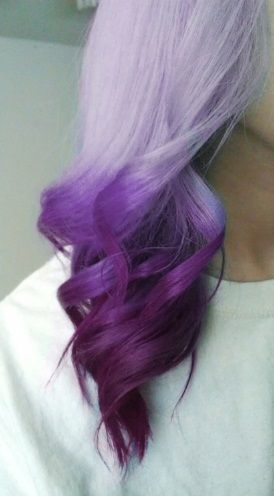 Long wavy purple colored hairstyle