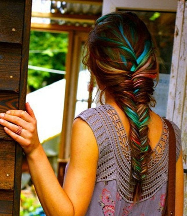 Stylish colorful fishtail braided hairstyle