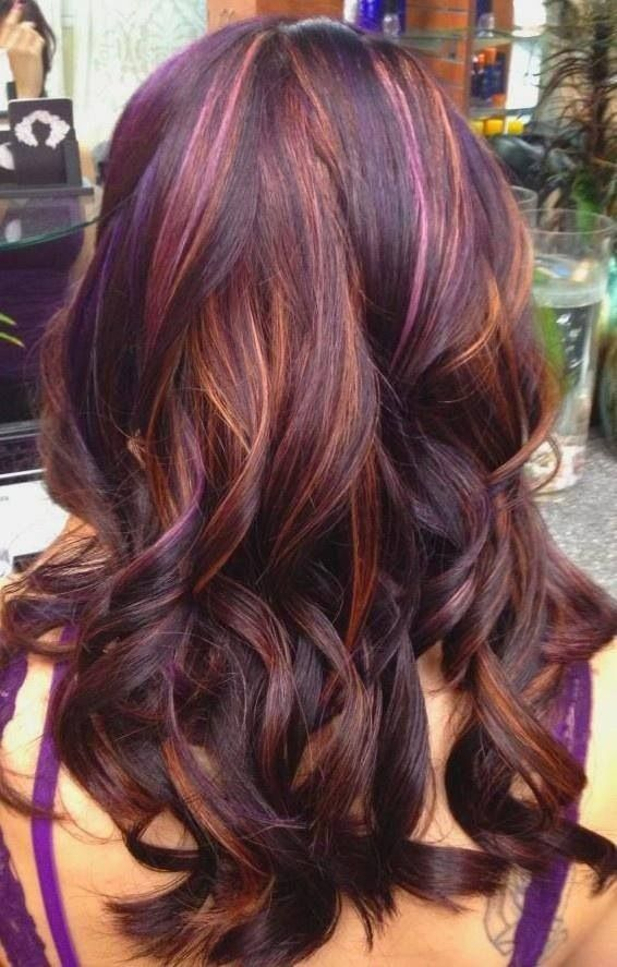 Purple and gold-colored hairstyle