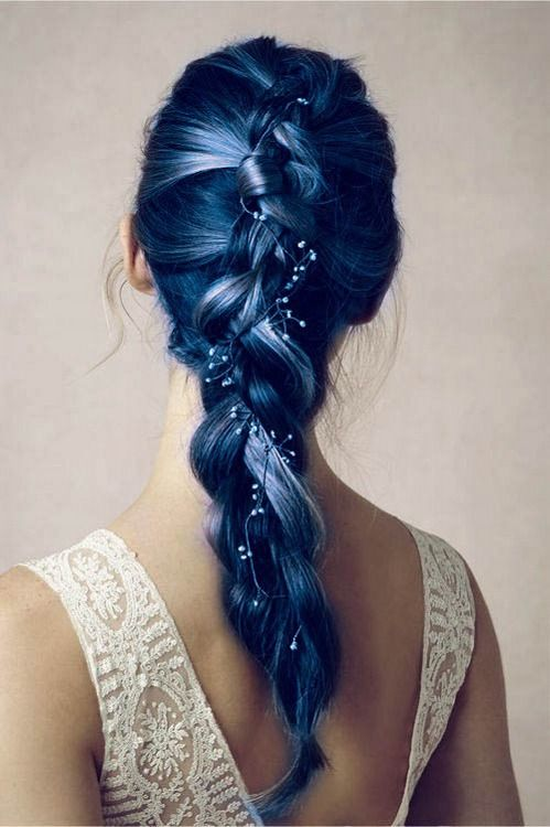 Blue braided ponytail hairstyle