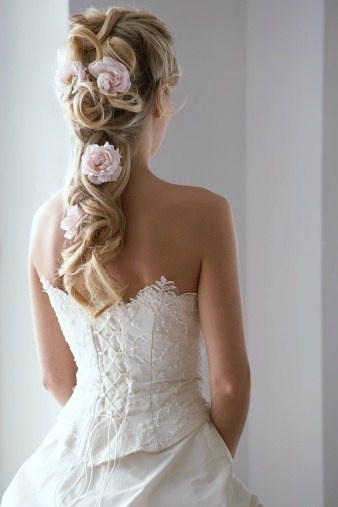 Glamorous wedding hairstyle for thick hair