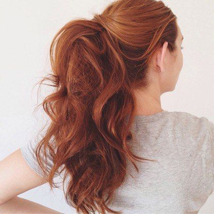 Simple ponytail hairstyle for thick hair