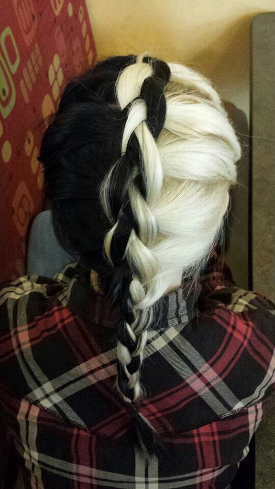 Cool braided fauxhawk black and blonde hairstyle