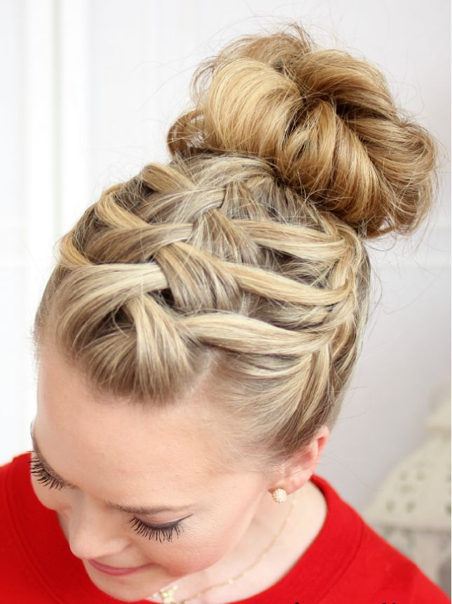 Criss Cross Braided Bun Hairstyle