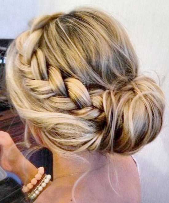 Braid in bun hairstyle