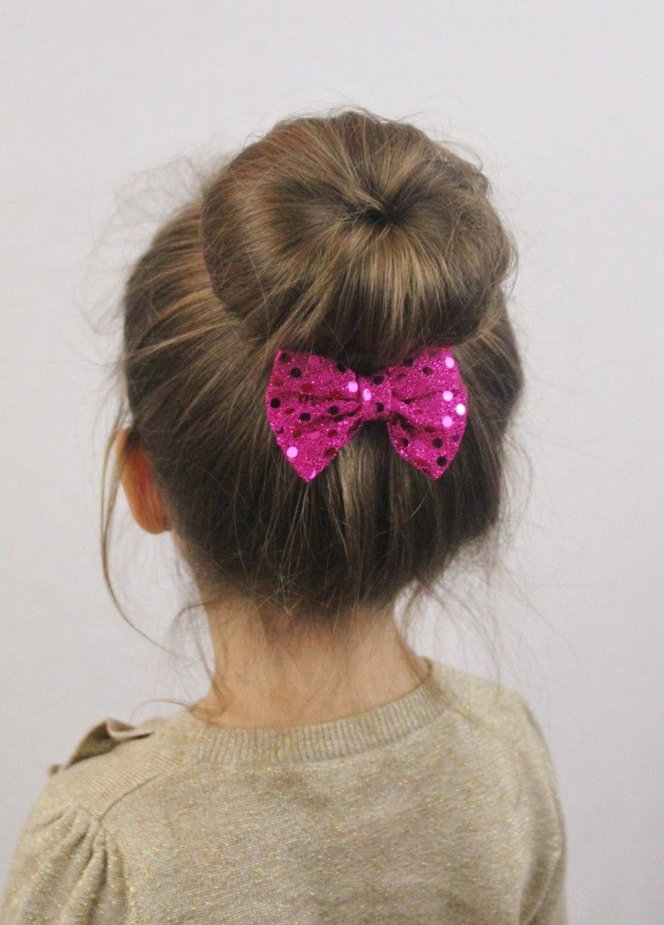 Sock bun hairstyle for little girls