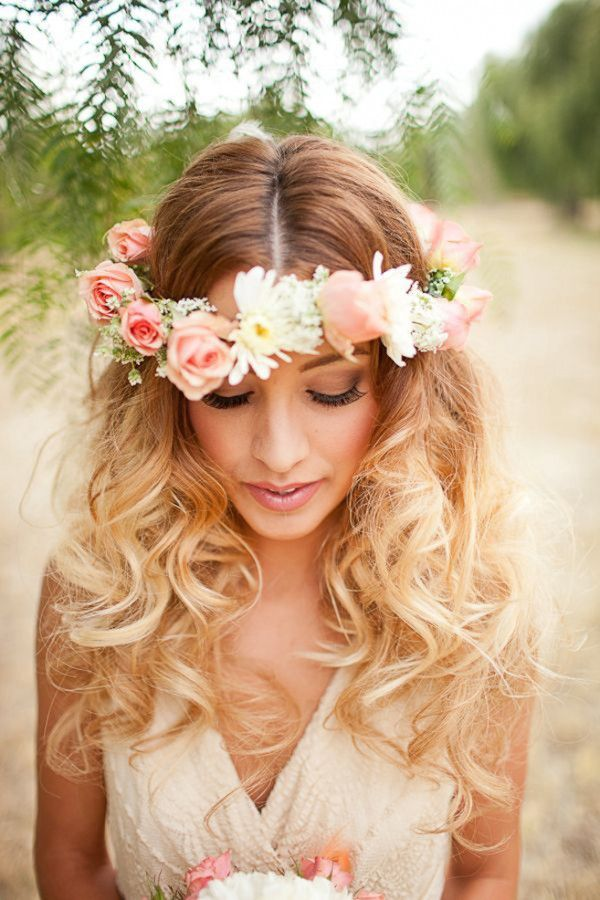 Chic hairstyle with flower headband