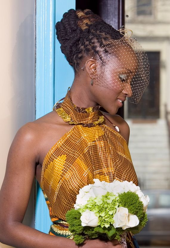 Wedding hairstyle with net for black women