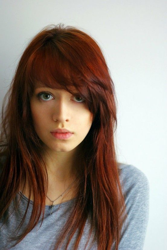 Long hairstyle with bangs for copper hair