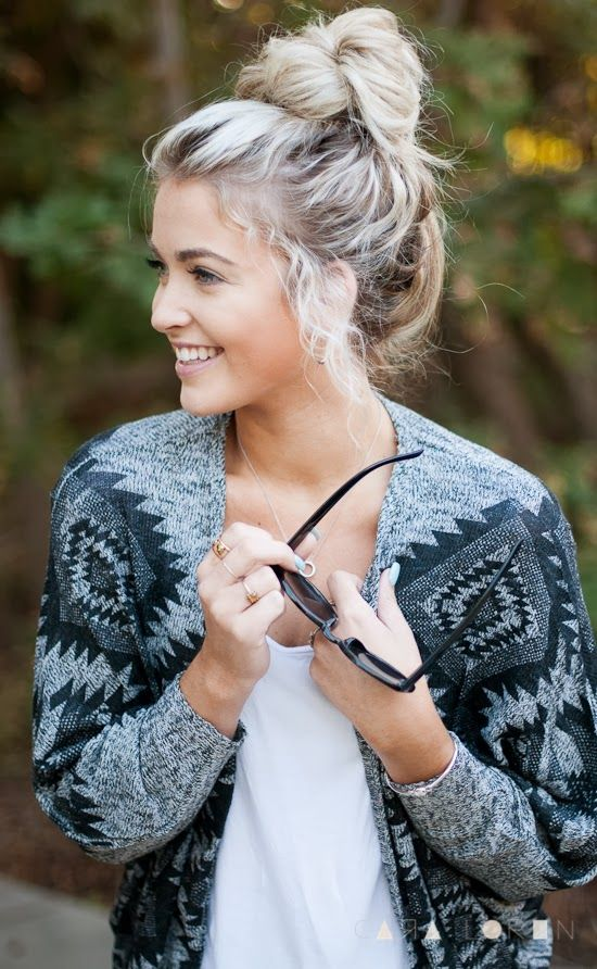 Chic top knot hairstyle for long hair