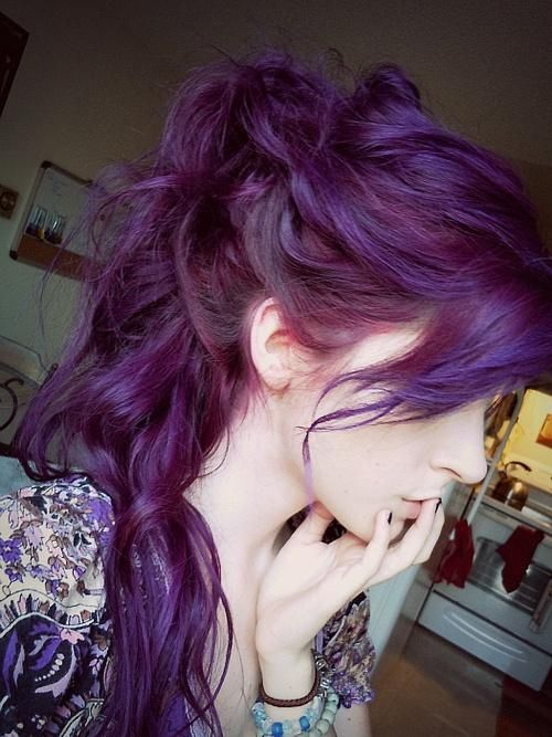 Long Wavy Purple Hairstyle - Ponytail