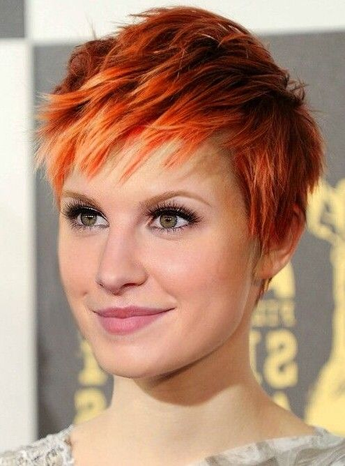 Orange short pixie hairstyle