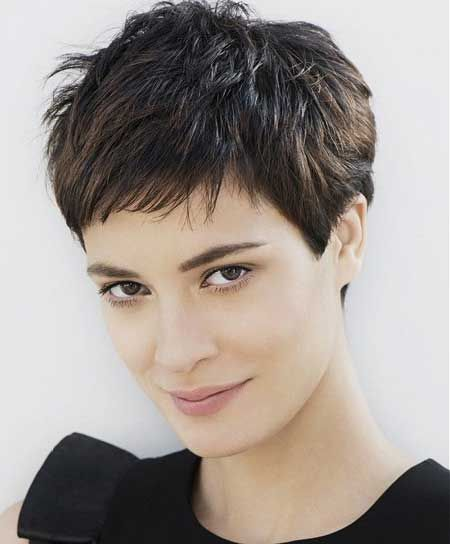 Charming short pixie hairstyle with bangs