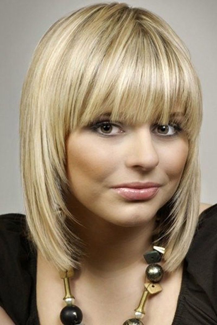 Pretty medium hairstyle with bangs