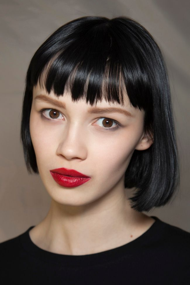 Short bob hairstyle with bangs for black hair