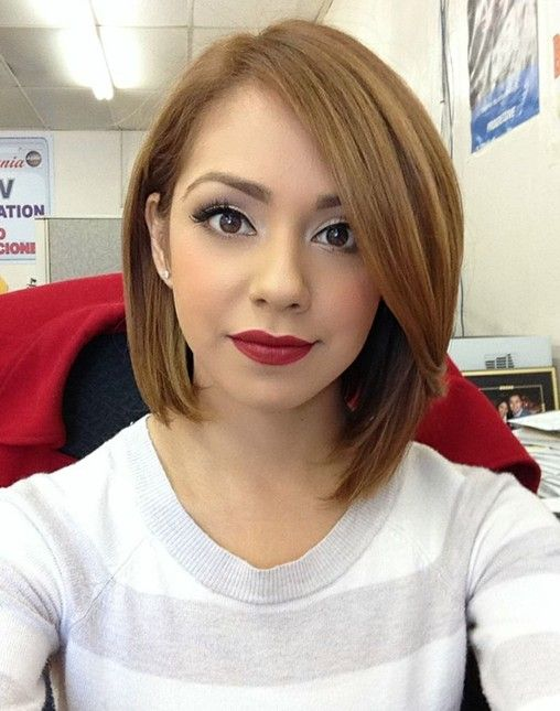 Short straight bob hairstyle for long faces