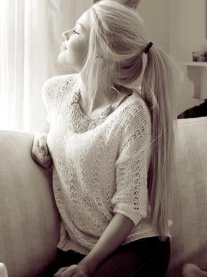 Long straight hairstyle - simple ponytail