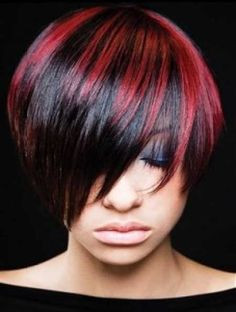 Red highlighted hairstyle for black women