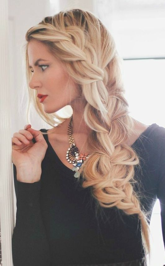 Loose braided hairstyle for long hair