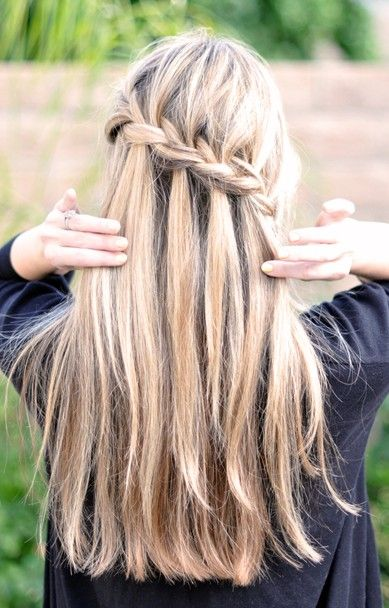 Waterfall braided hairstyle for long hair