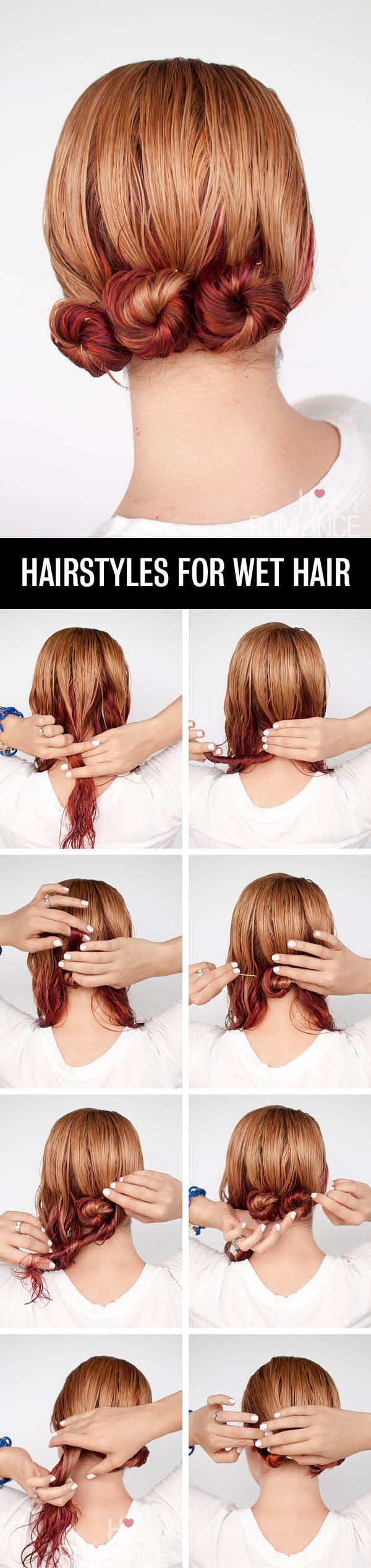 Lower updo hairstyle tutorial for wet hair