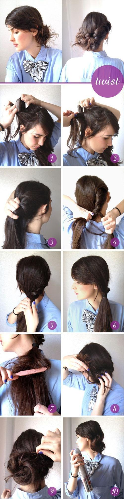 Glamorous Twisted Updo Hairstyle Tutorial