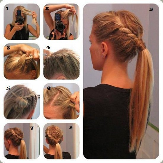 Stylish tutorial for braided ponytail hairstyles
