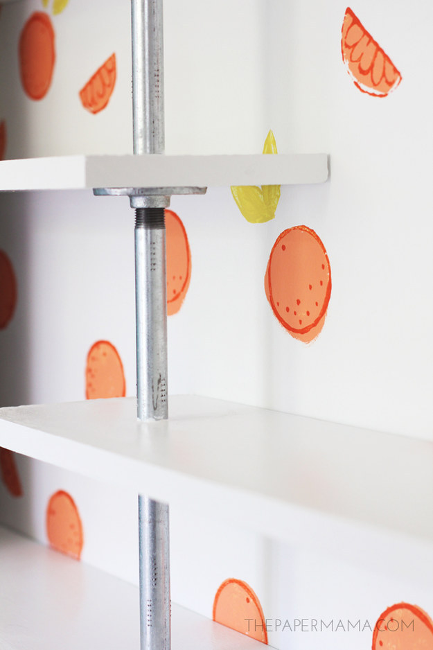 Hand stamped Citrus Wall DIY