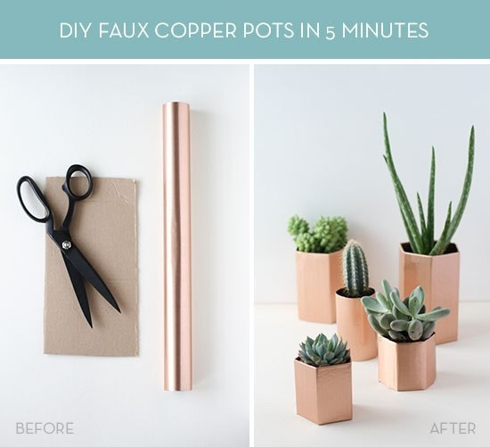 Metallic geometric planters