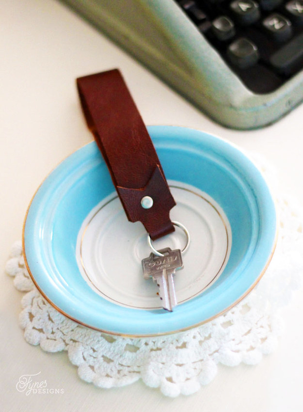 Sew leather keychain