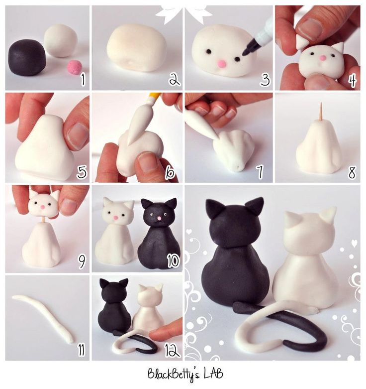 Cute clay kitty couple