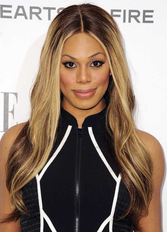 Laverne Cox Center Part Long Ombre Hairstyle with Subtle Waves for Winter