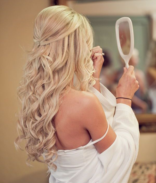 Half Up Half Down wedding hairstyle for blonde hair