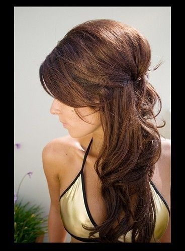 Half up half down wedding hairstyle for brown hair