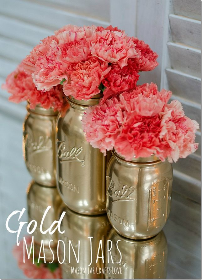 Golden mason jars