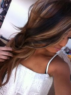 Long brunette wavy hair with blonde highlights