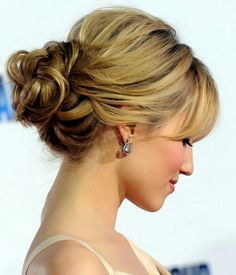 Pretty twisted updo for medium length hair
