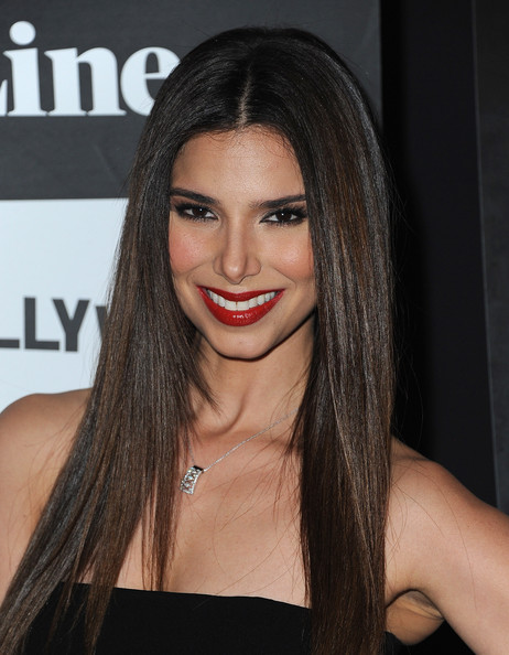 Roselyn Sanchez Long straight hair with red lips and long eyelashes