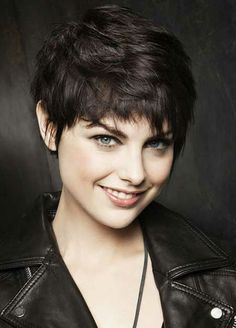 Short layered black pixie hairstyle